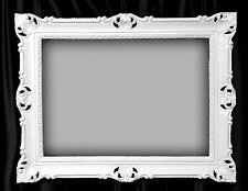 Bilderrahmen groß 90x70  Bilderahmen  BAROCK Rechteckig Weiß Foto Rahmen Antik