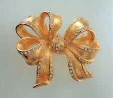 Clear Rhinestones Bow Brooch. Vintage, Gold Plated and