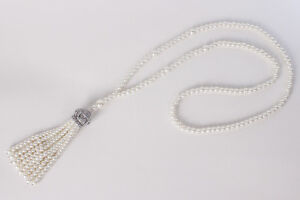 1920s Gatsby Necklace Jewelry Long Pearl Chain For Vintage Flapper Gatsby Dress