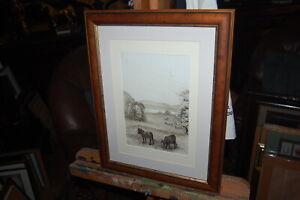 Original antique drawing of Valleyside, Crombie Point, Peatland Hills, Scotland