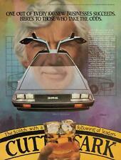 Print.  1981 De Lorean Automobile - Cutty Sark Scotch Whisky Advertisement