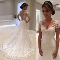 WEDDING GOWN DRESS MERMAID LACE IVORY CHAMPAGNE WHITE CAP SLEEVE BRIDAL