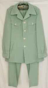 Palm Beach 1970's Button-Up Polyester Green Leisure Jacket Pants Suit Women's L
