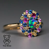 Beautiful Night - N5 Vivid Color Boulder Opal Sapphire Engagement Ring 18K Gold