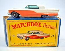 "Matchbox RW 75A Ford Thunderbird rare mittelblaue Bodenplatte in ""D"" Box"