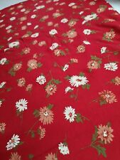 4 Metres Printed red white flower floral viscose elastaine dress fabric