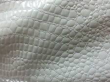Metatron crocodile faux leather vinyl fabric white color by the yard