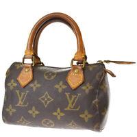 Auth LOUIS VUITTON Mini Speedy Hand Bag Monogram Leather Brown M41534 88MG680
