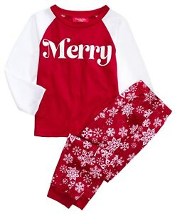 Matching Family PJs Kid's Merry Snowflake Christmas Pajama Set 8, Medium #5707