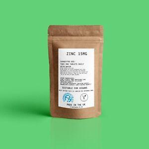 Zinc Citrate15mg Tablets High Absorption Vegan Immune Health 30/60/90/120/240