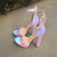 Women's Shoes Open Toe Thick Heel Pumps Sandals Platform Ankle Strap Clubwear SZ