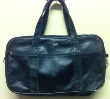 Large Vintage London Fog Black Leather Luggage Bag Carry On Travel Business