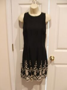 New in pkg FREDERICK'S OF HOLLYWOOD black EMBOIDERED dress made in USA sz 9/10