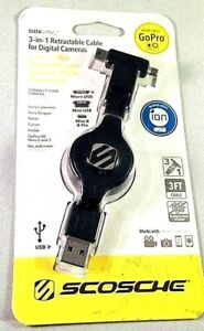 SCOSCHE Sleeksync 3-In-1 Retractable USB Cable For ION & GoPro Digital Cameras
