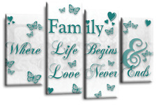 Le Reve Family Love Quote Art Black White Grey Canvas Home Wall Split Panels