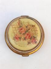 Vintage Revlon Floral Design Brass Compact with Mirror