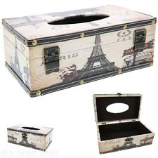 Classic Retro Arts Room Car Decor Tissue Paper Wood Box Cover Holder Paris Style
