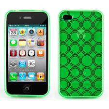 Silikon Schutzhülle TPU Case Retro Kreis Muster Apple iPhone 4 4S Hülle Grün