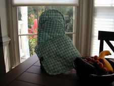 Sage Green Gingham Pot Holder + Puppet Oven Mitt