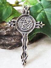 Großes Kreuz mit Pentagramm 925 Silber Anhänger Gothic Magie