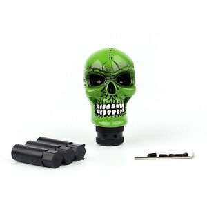 Universal Resin Manual Operation Car Truck Gear Shift Knob Skull Head Green C