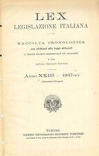 LEX - LEGISLAZIONE ITALIANA - 1937 GENNAIO-GIUGNO