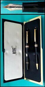 Montblanc Meisterstuck Set 146 Legrand Black Fountain & Ballpoint Pen In Box *
