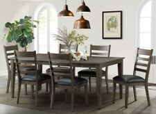 Imagio Home Solid Birch Dark Hard Wood Extending Dining Room Table + 6 Chairs