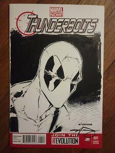 Original Deadpool Sketch Cover by A. Corona. THUNDERBOLTS #1 NM+