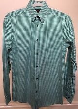 BEN SHERMAN Mens Green White Gingham Check Long Sleeve Slim Fit Cotton Shirt S