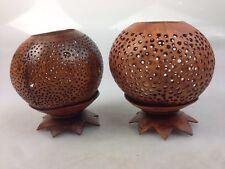 2x Teelicht Kerzen Leuchter Buddha Handarbeit aus Kokosnuss .