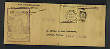 1938 Thermopolis WY USA Post Office Official Cover to Cheyenne Hot Spring Cachet