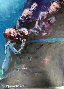 "Robert Broderson ""Men In Blue"" Painting on Paper (C)1970, 11.5"" X 9"""