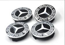 4PCS 75mm Wheel Center Hub Cap Rim Caps Emblem Black Fit For Mercedes Benz