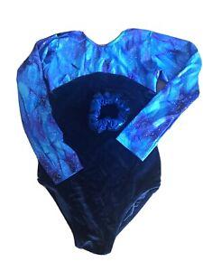 Girls Blue Velour Leotard With Sparkle Foil Detail