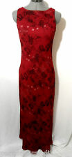 JONATHAN MARTIN Floral Maxi Dress 3/4 Red Black paisley Chiffon Sexy Semi formal