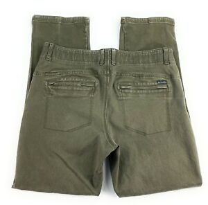 Columbia Men's Flat Front Cotton Blend Olive Green Outdoor Hiking Pants 36x32