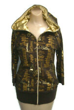 Apple Bottoms Juniors Sweat Jacket Brown w/ Gold Hooded Zipped Size L