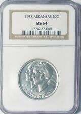 1938 Arkansas Commemorative Silver Half Dollar - NGC MS-64 - Low Mintage