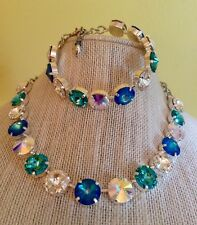 Swarovski crystal elements  Necklace Bracelet Earring Jewelry Set 12mm Summer