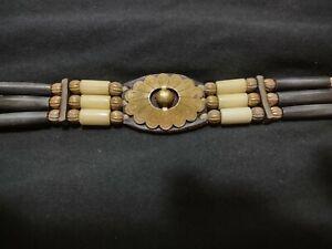 Vintage Cherokee Bead, Bone, Leather, Metal, and Shell choker -  1996