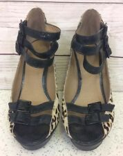 River Island Size 6 Leopard Print Faux Fur High Heel Strappy Peep Toe Shoes