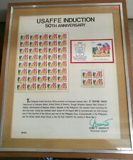 Philippines Usaffe Induction 50th Anniversary Stamp Glass Framed Display