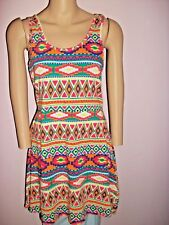 Rue 21 Tribal Print Sleevless Colorful Fun Dress-Multi Color- Boho- Size Large