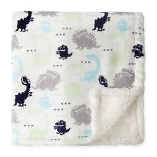 Okie Dokie Sherpa Plush Baby Boy Soft Blanket White Dino Dinosaur Gray Blue New