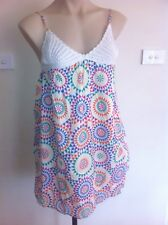 Ladies ZARA TRF Dress Size Medium 10-12 Summer Crochet Strappy Hippy Rainbow