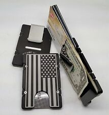 American Flag, Billet Aluminum Wallet/Credit Card Holder, RFID Protection, Black