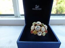 GENUINE Swan Signed SWAROVSKI Multi Coloured Crystal Ring  -  Size Small