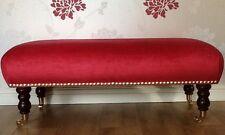 Footstool Stool In Laura Ashley Villandry Cranberry Velvet Fabric