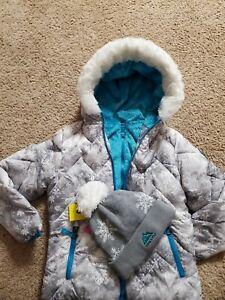 Snozu Girls' Faux Fur Lined Hooded Jacket/Coat With Fleece Lined Hat-Size 5T